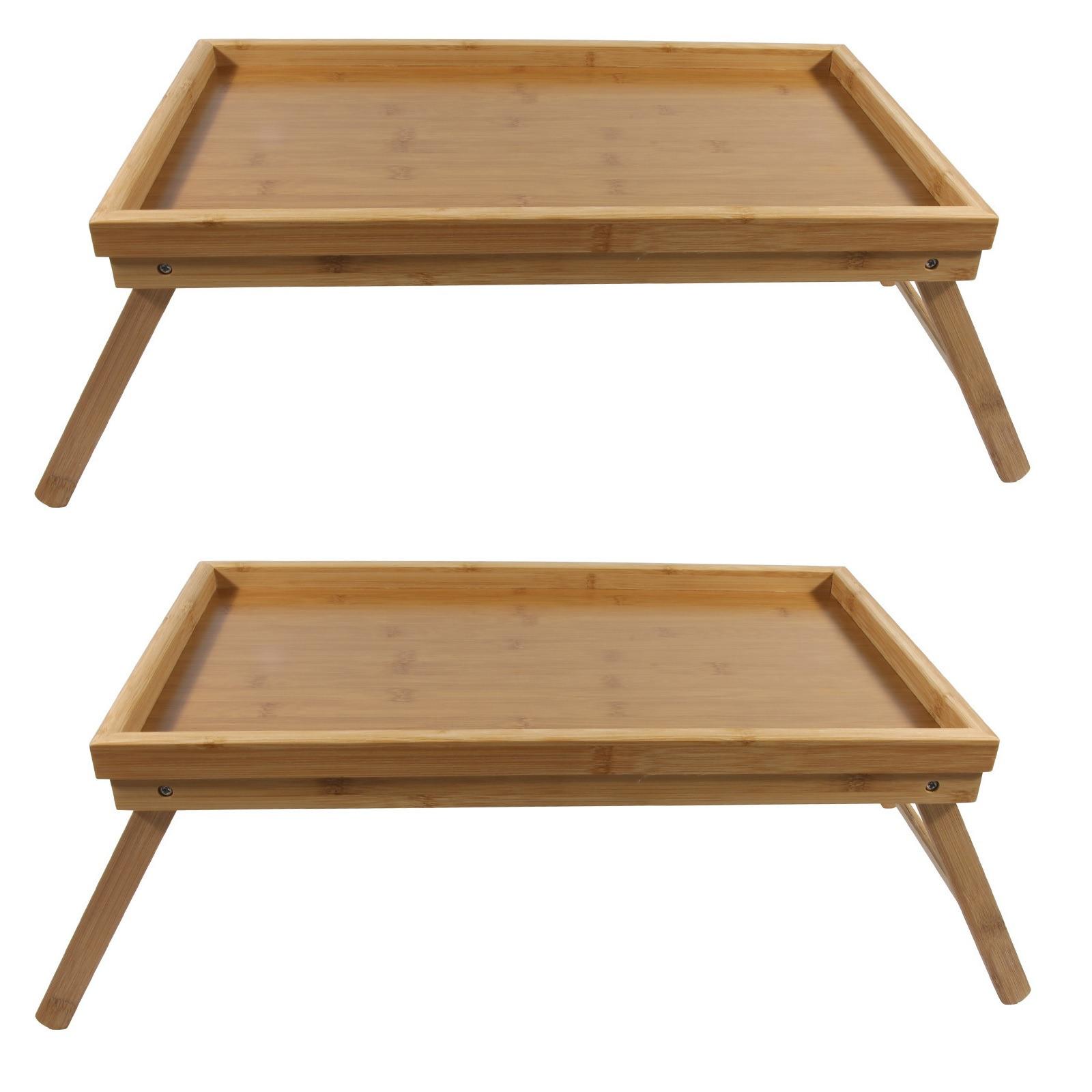 2x bamboe ontbijt/bedtafelen/tafeltjes 50 x 30 cm